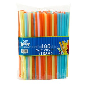 Assorted Colors Plastic Smoothie Straws