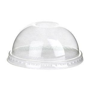 Monouso Cupola PET coperchi, Fits 12 once.  - 24 once.  Coppe, Clear