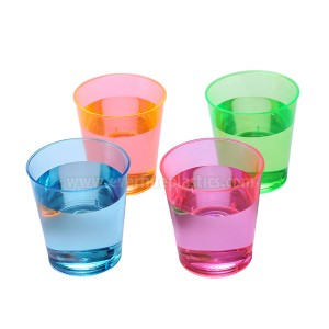 Plastic Cups - 2oz Neon pena Glass