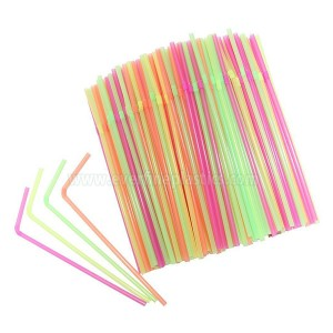 5X210mm Neon / Stripete plast Fleksible Straws