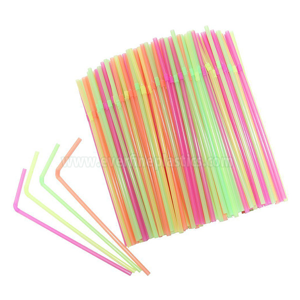 5X210mm Neon / Striped Plastic Flexible Straws Featured Image