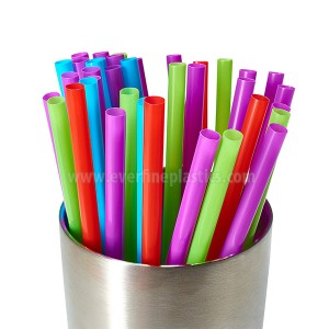 Plastic Large Straight Straws 8 1/4 Inches, Neon Assorted Colors